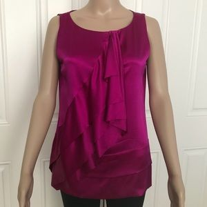 DVF Caboney fuschia Hot Pink silk ruffled top 4